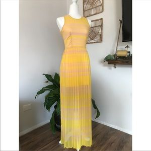 French Connection pink & yellow striped maxi dress